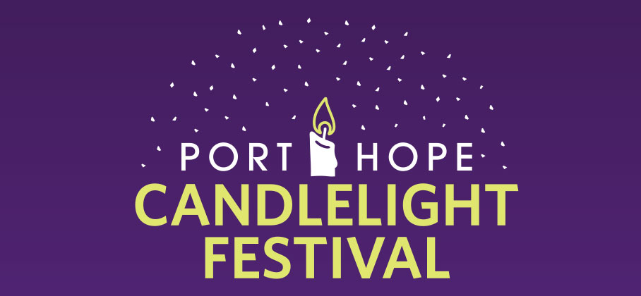 Purple banner that says Port Hope Candlelight Festival