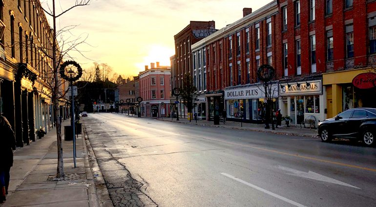 Sunset in downtown Port Hope highlighting the old buildings and shops