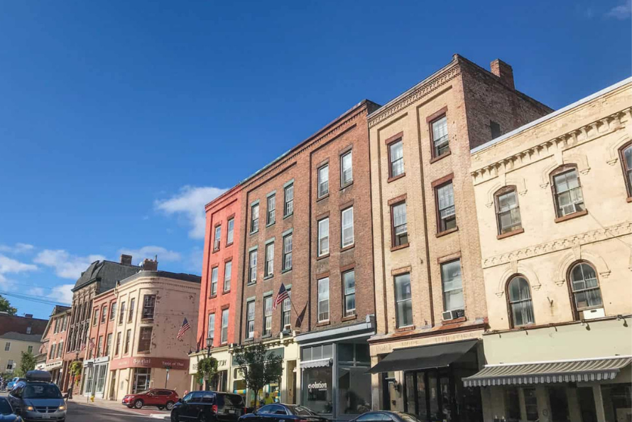 A photo of the historic buildings on a street in downtown Port Hope
